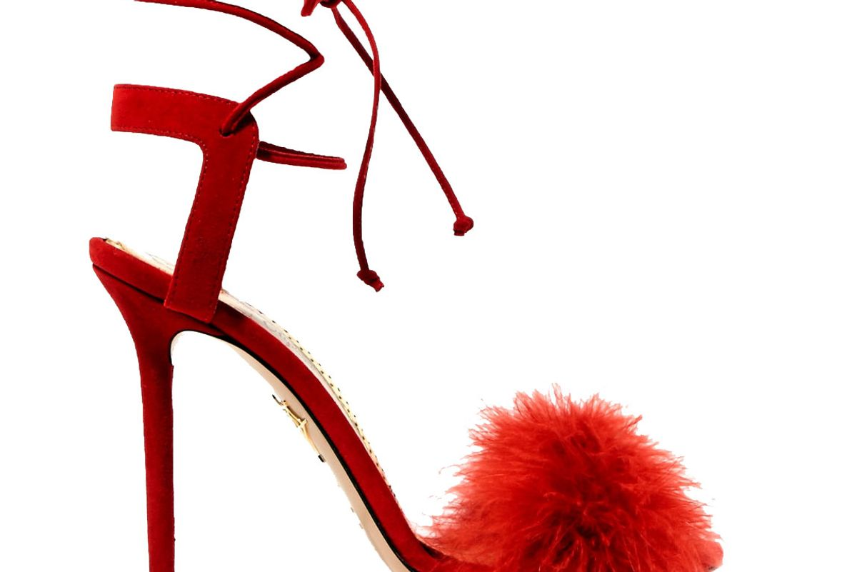 charlotte olympia salsa feather trimmed suede sandals