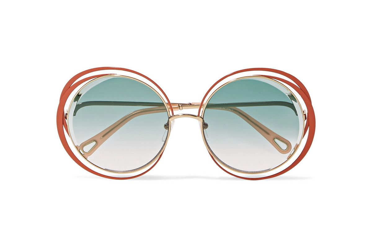 chloe carlina oversized round frame gold tone sunglasses