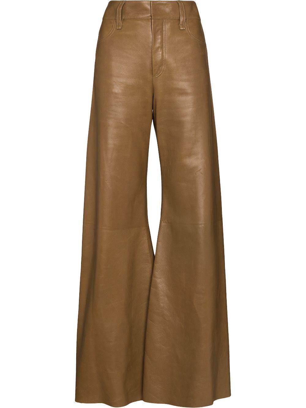chloe wide leg leather trousers