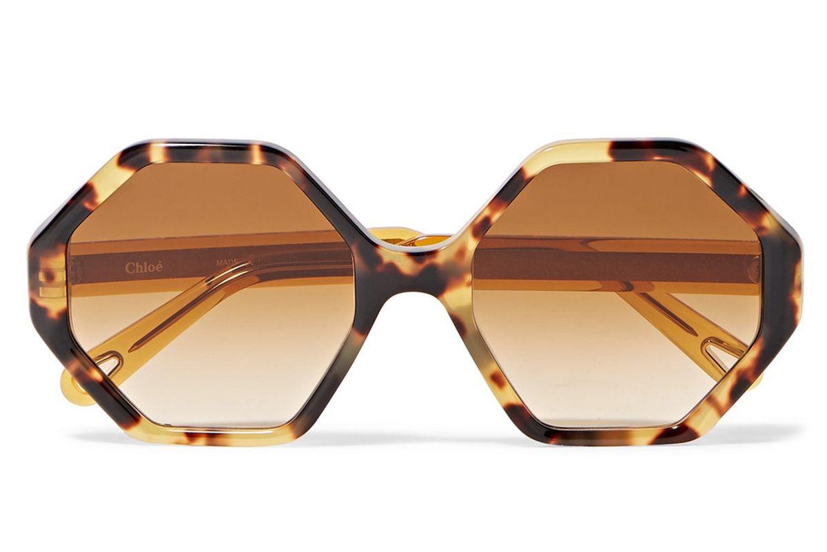 chloe willow hexagon frame tortoiseshell acetate sunglasses