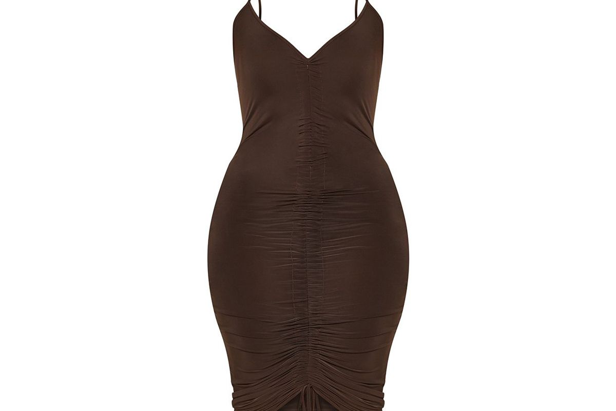 chocolate brown ruched front midi dress