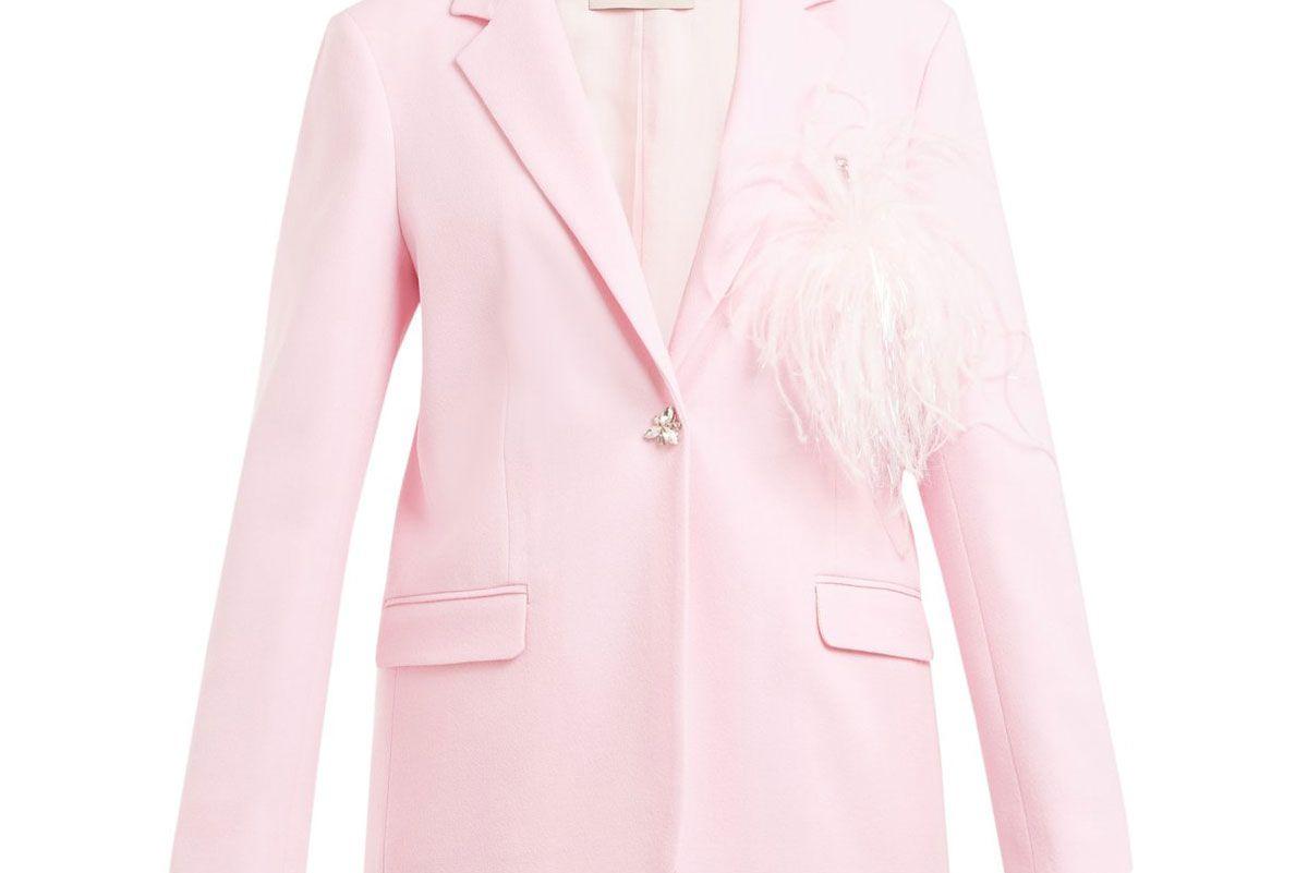 christopher kane feather embellished wool crepe blazer