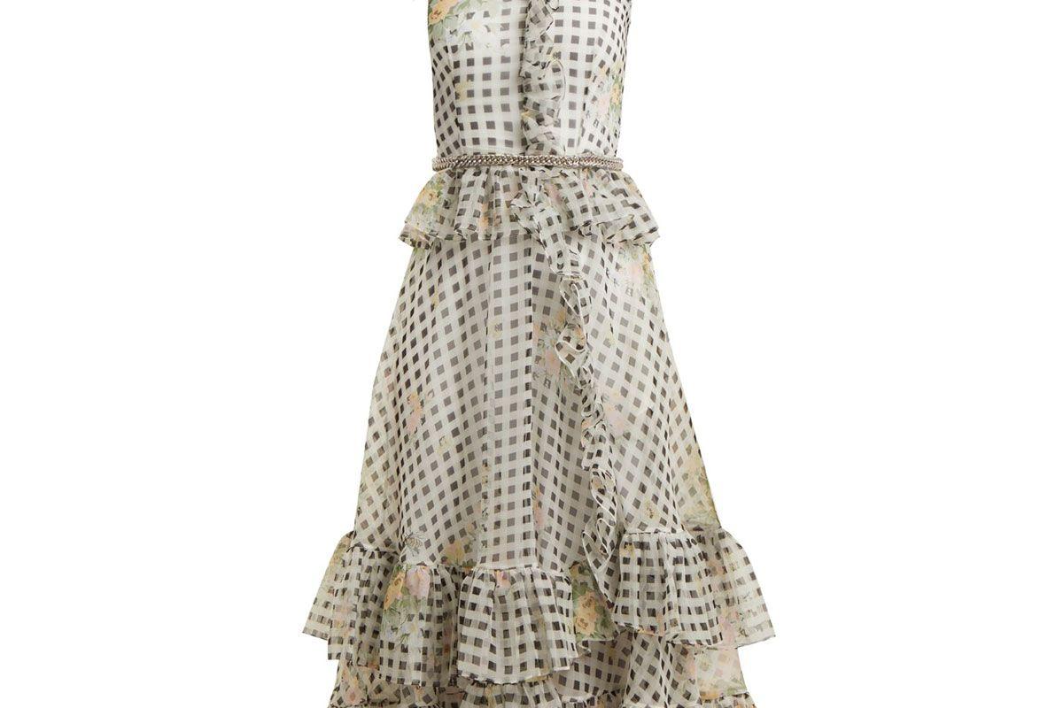 christopher kane floral print gingham silk organza dress