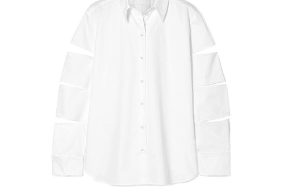 christopher kane oversized cutout cotton poplin shirt