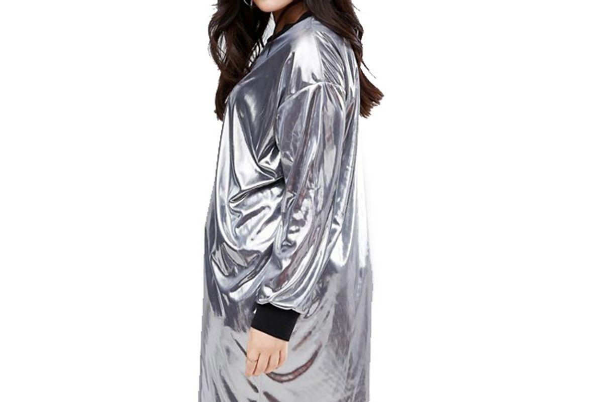 Curve Metallic Mini Dress With Rib Trim