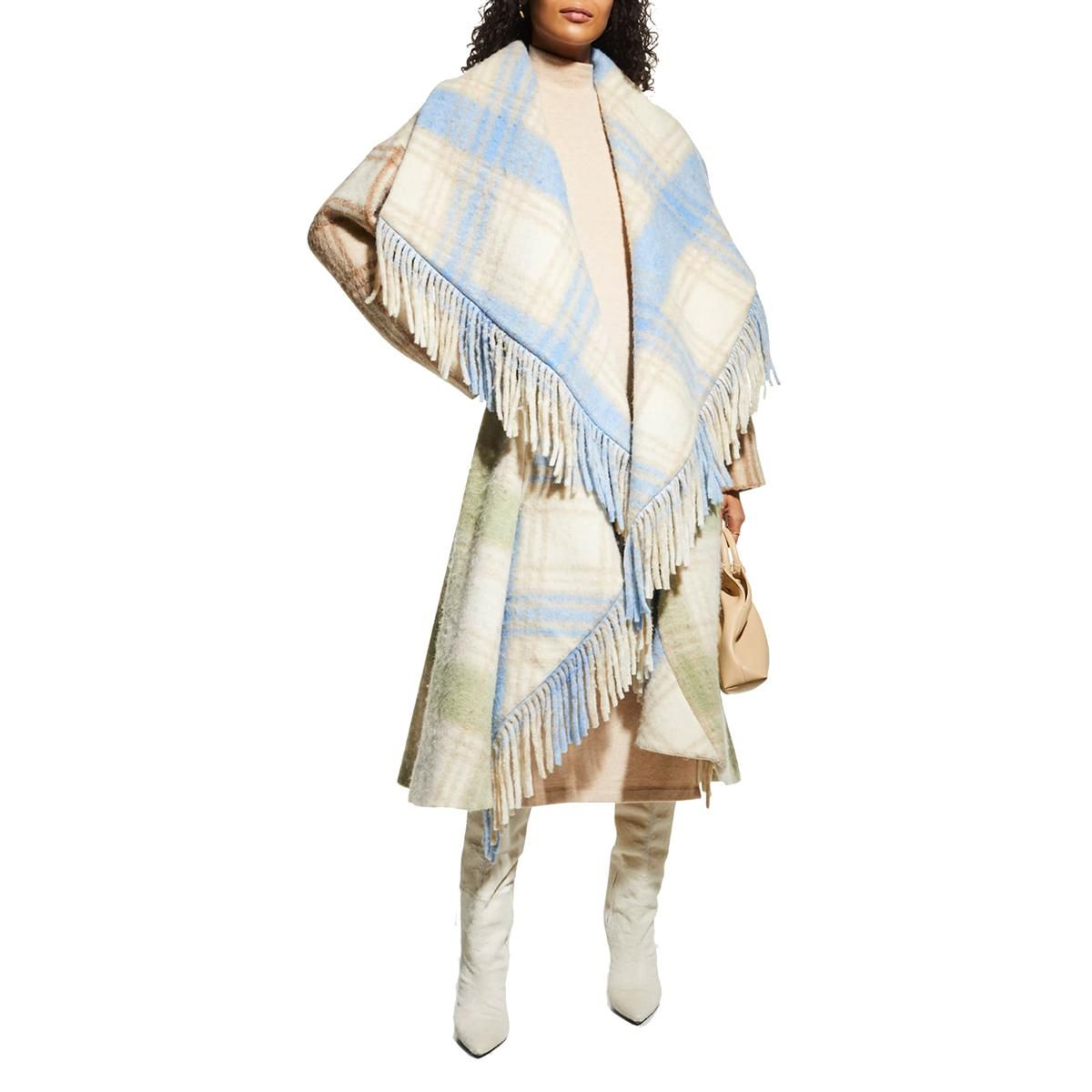 cinq a sept lita plaid shawl collar fringe coat