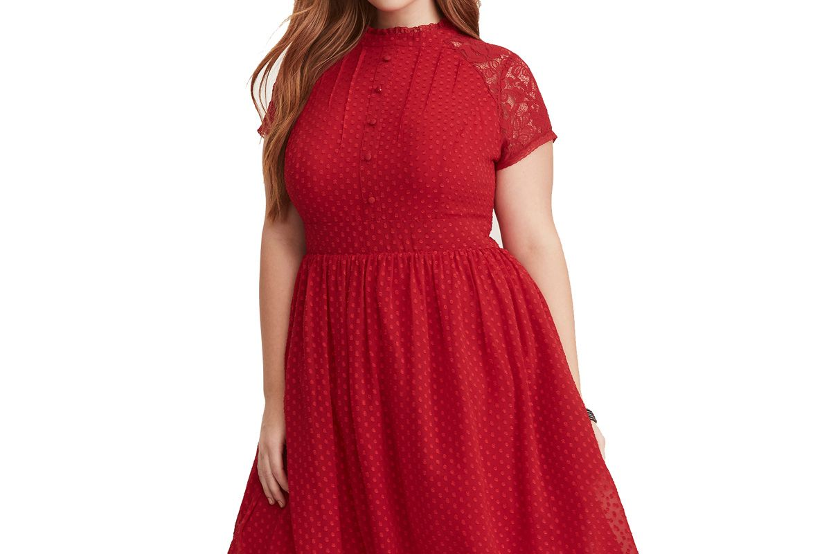 Red Textured Dot Chiffon & Lace Button Front Swing Dress
