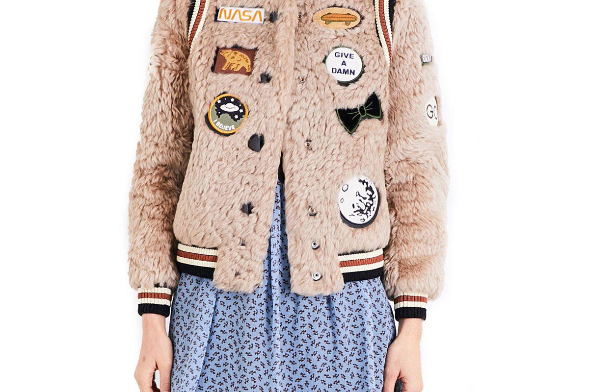 Patch Appliqué Shearling Varsity Jacket