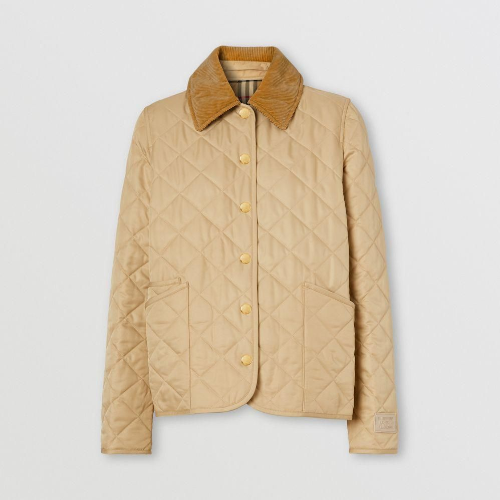 corduroy collar diamand quilted jacket