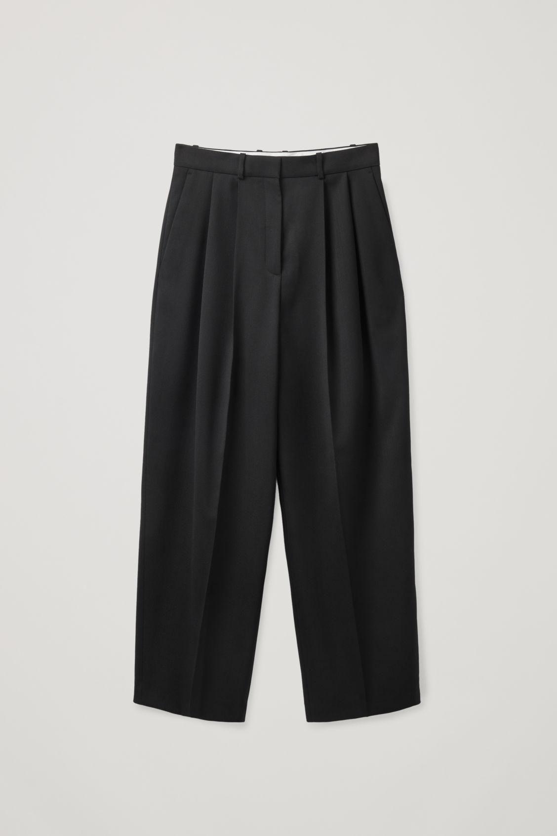 cos pleated wide leg wool pants