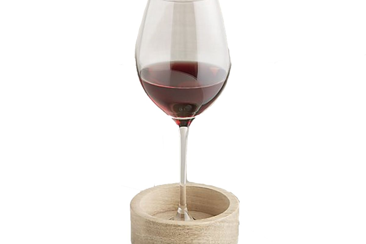 crate and barrel wood and marble wine coaster