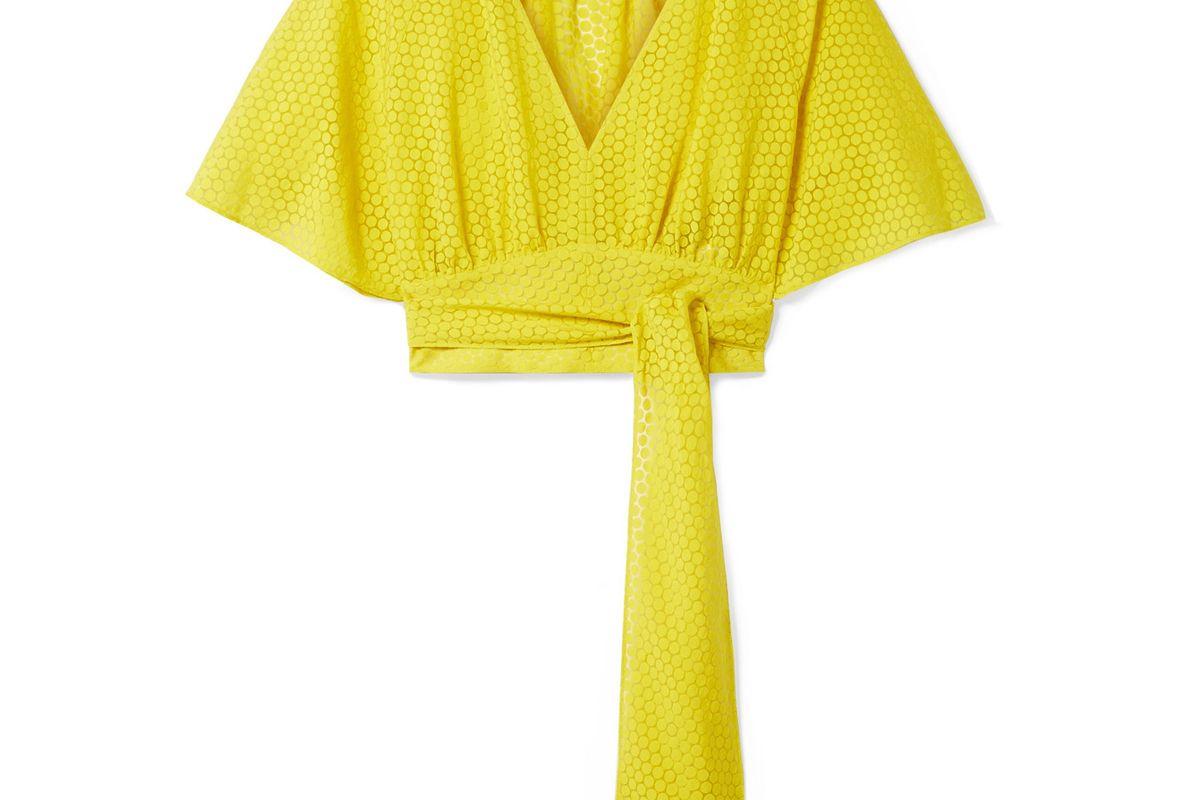 diane von furstenberg cropped devore voile wrap blouse