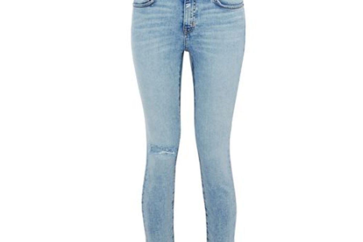 current elliot distressed metallic coated mid rise skinny jeans