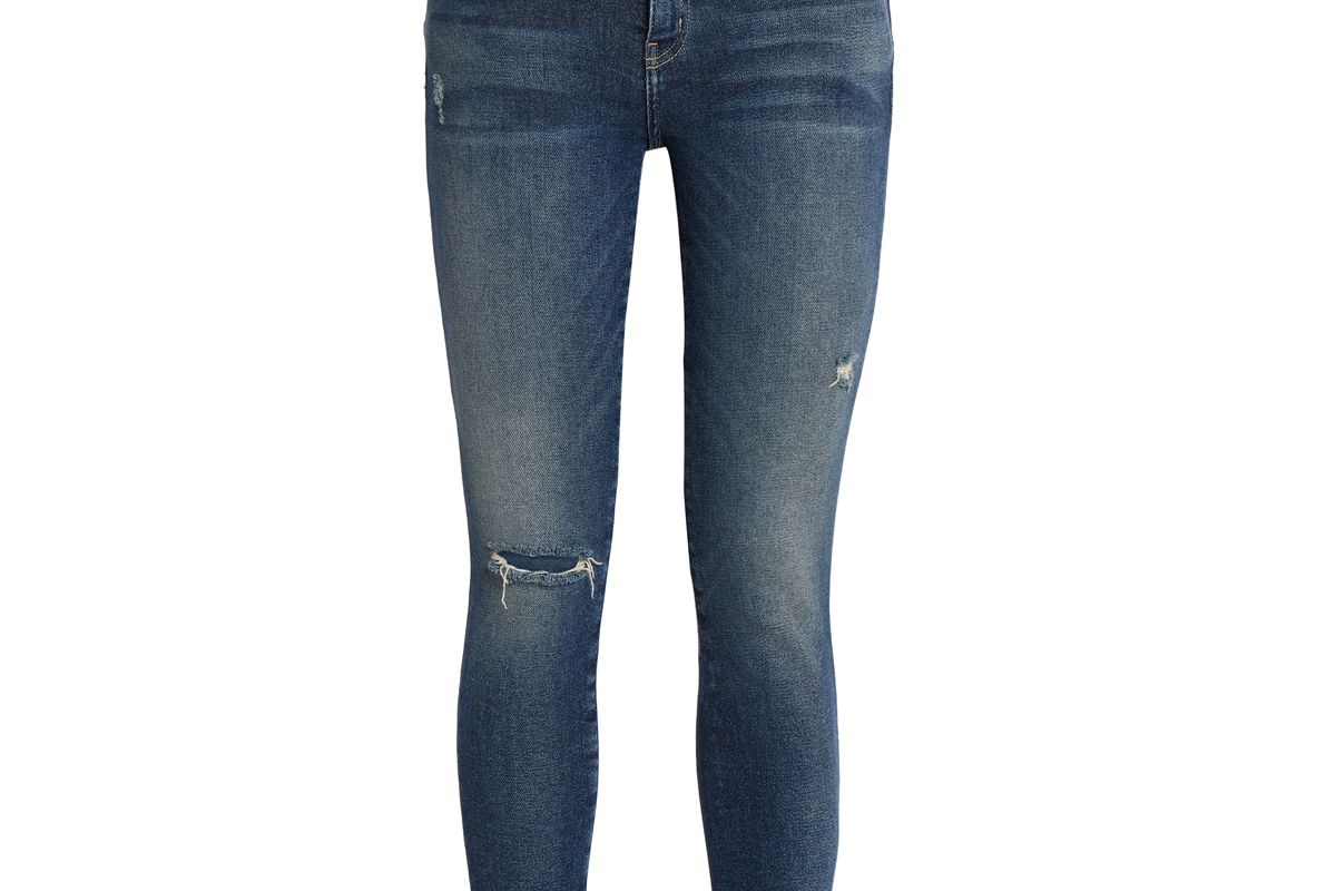 current and elliott distressed mid rise skinny jeans