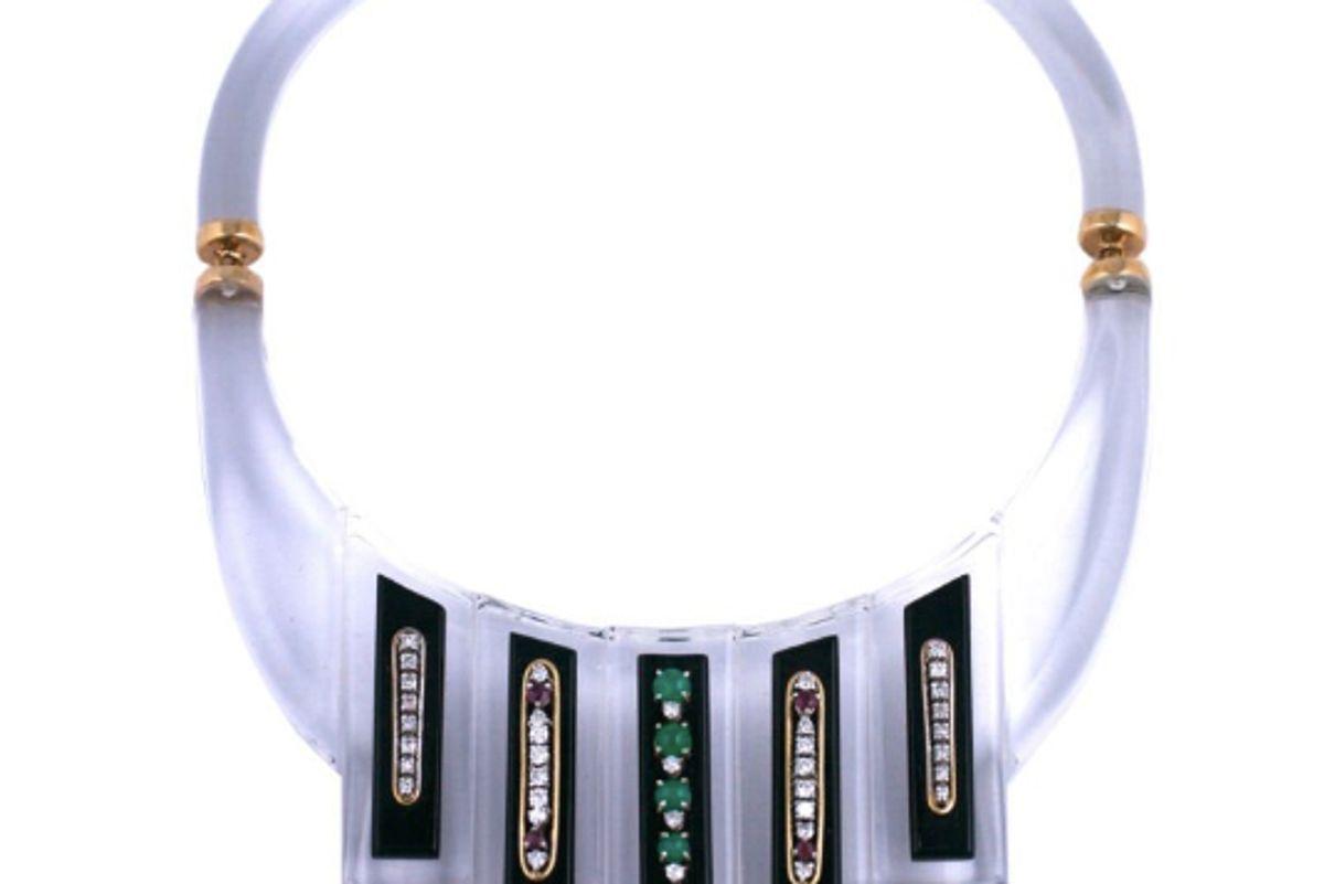 custom lucite diamond emerald ruby collar necklace