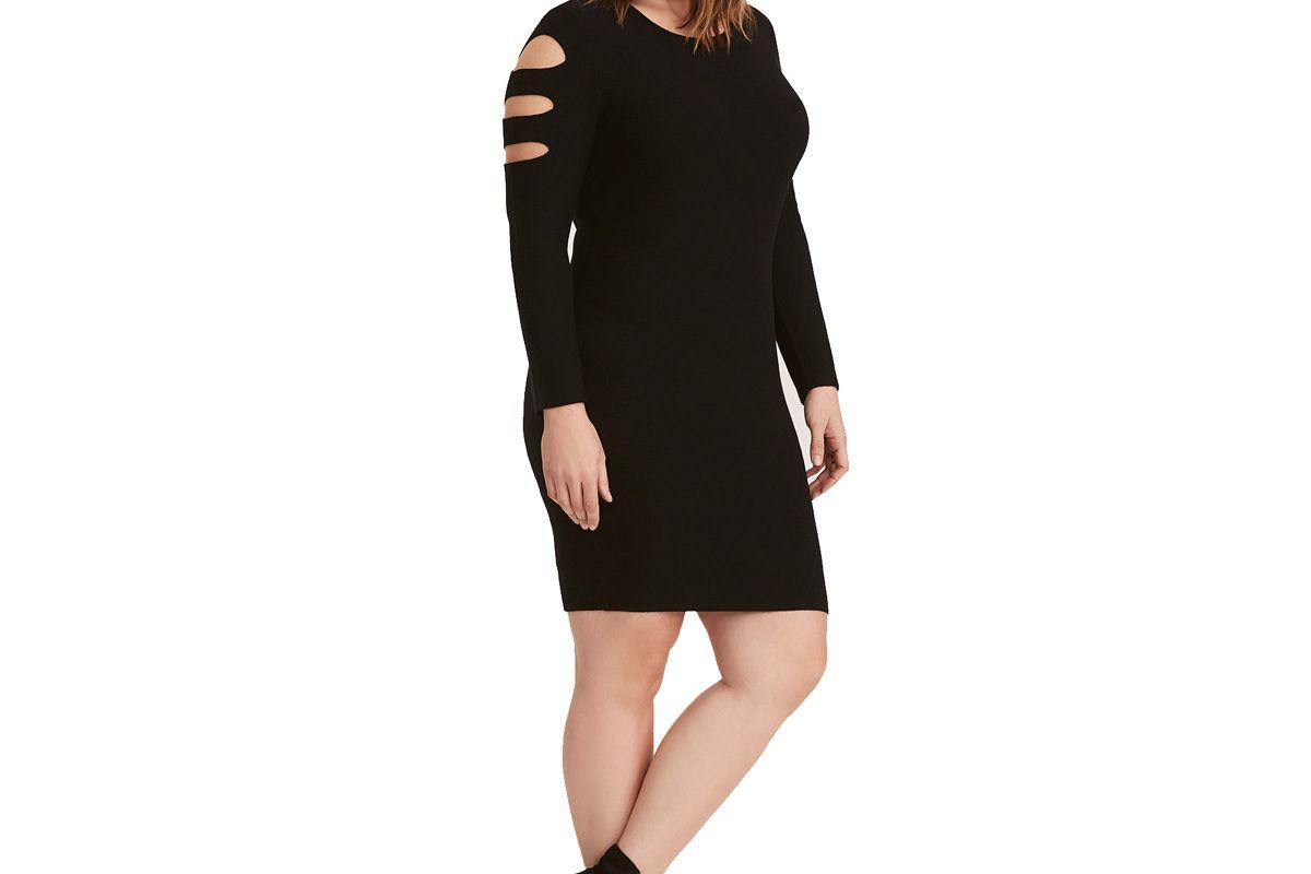 Black Cutout Sleeve Cutout Back Sweater Dress