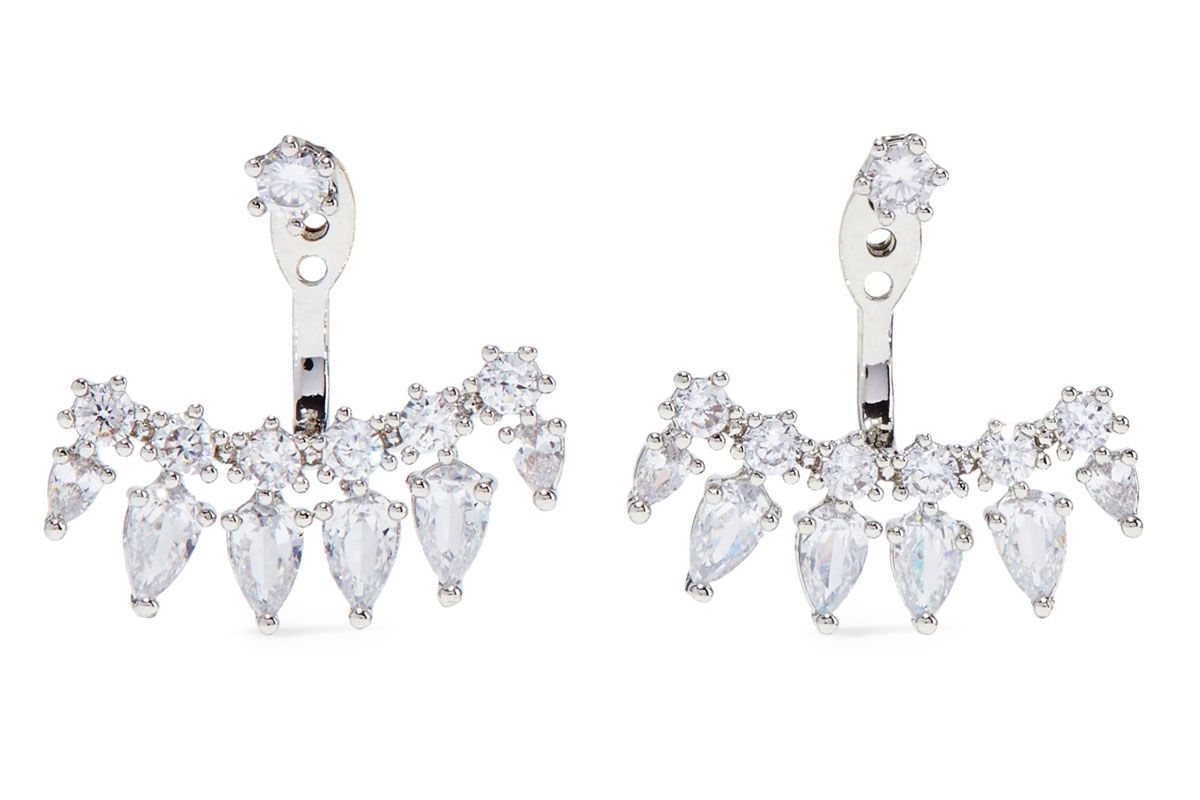 cz by kenneth jay lane convertible rhodium plated crystal earrings