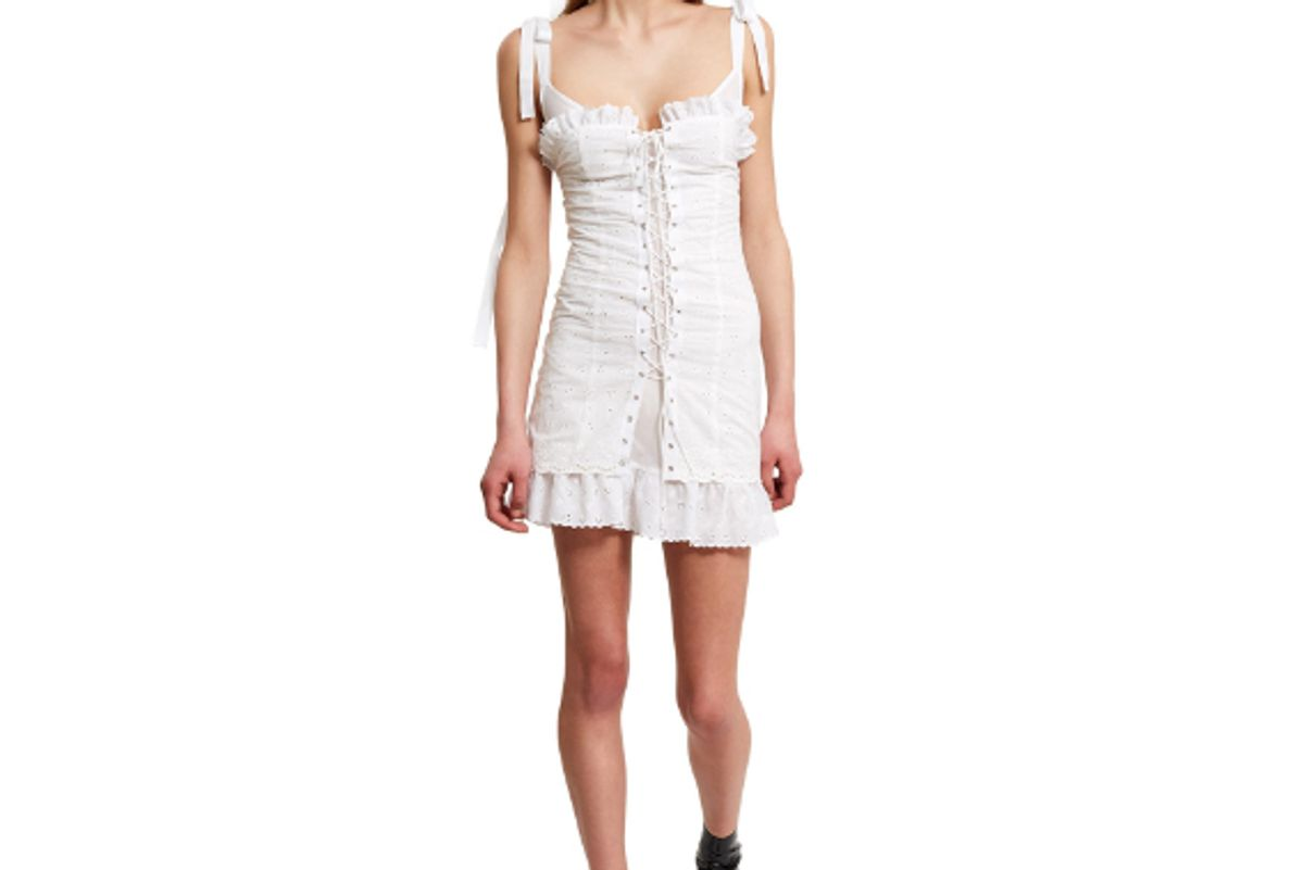 Broderie Lace-Up Corset Dress