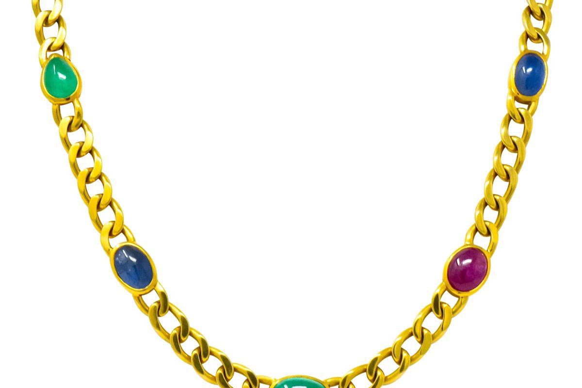 david webb 20 00 carat ruby sapphire emerald 18 karat gold curb chain