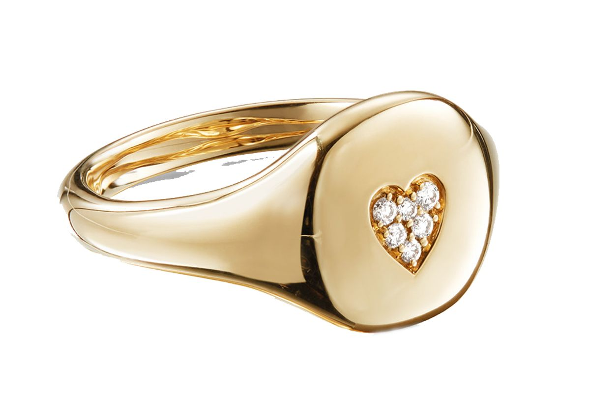 david yurman cable collectibles heart mini pinky ring in 18k gold with diamonds