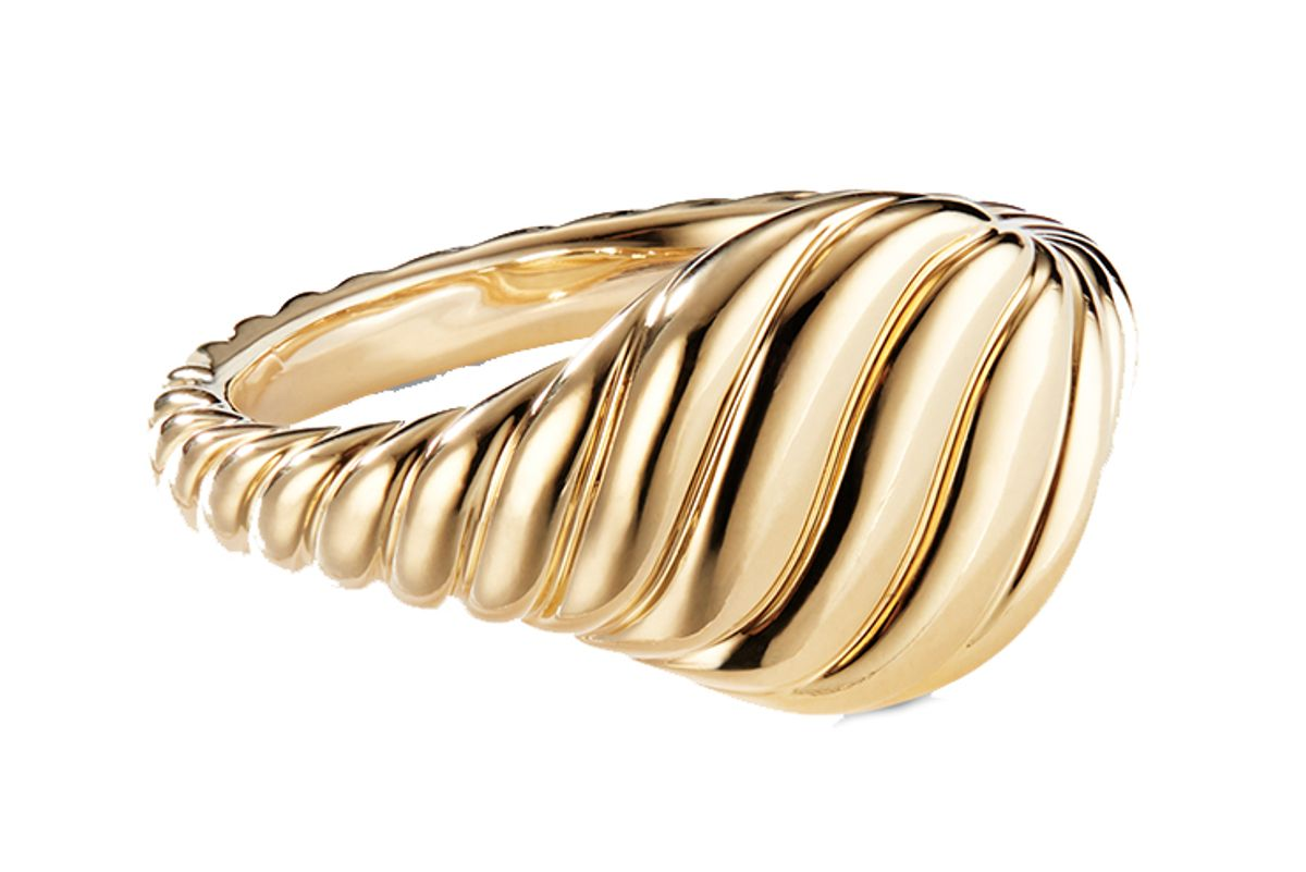 david yurman sculpted cable mini pinky ring with 18k gold