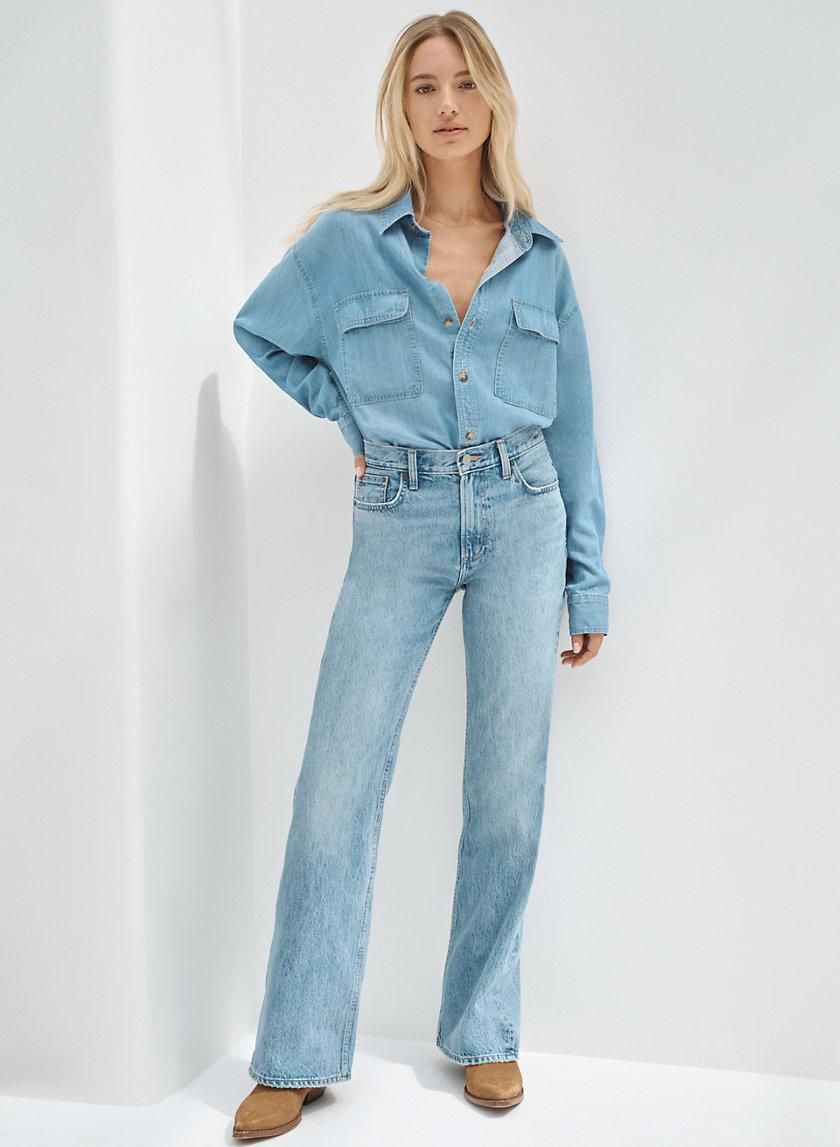 denim forum the marianne mid rise loose flare 32l
