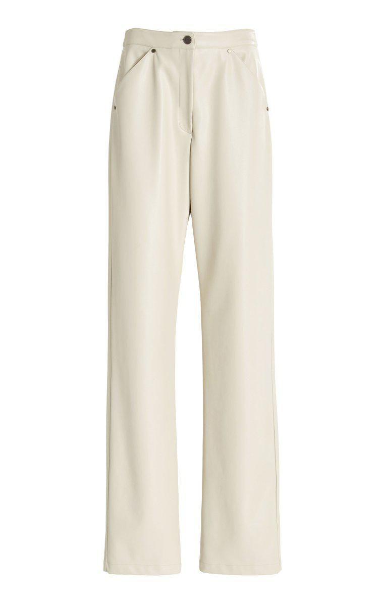 deveaux eve faux leather straight leg pants