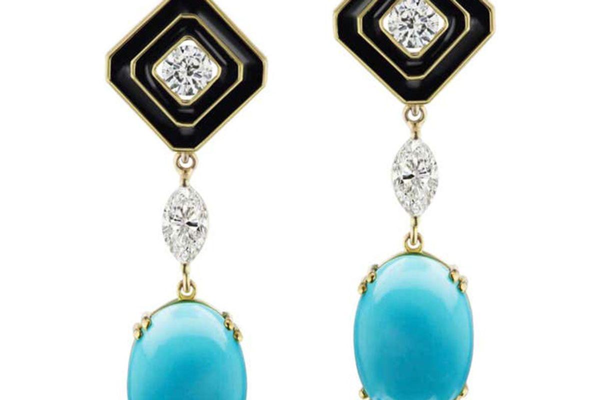 diamond earrings with detachable turquoise and diamonds drops