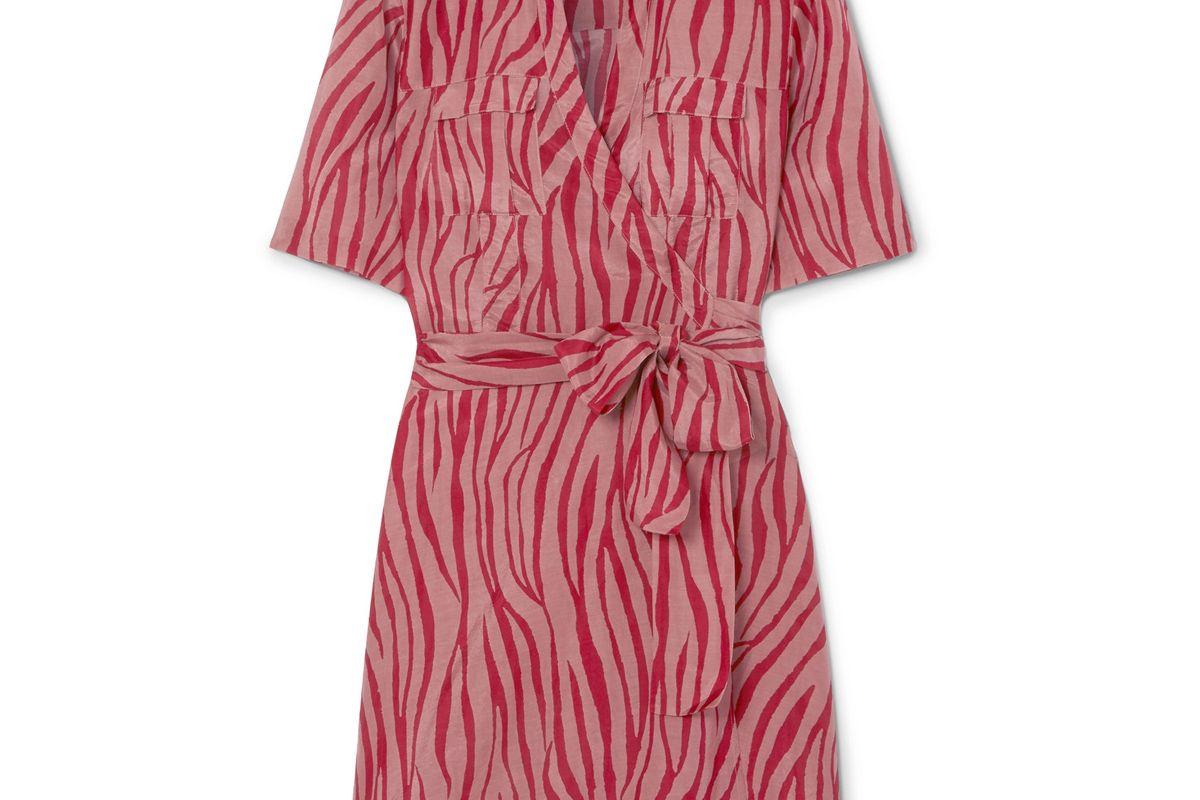 diane von furstenberg alexa tiger print cotton and silk blend voile wrap mini dress