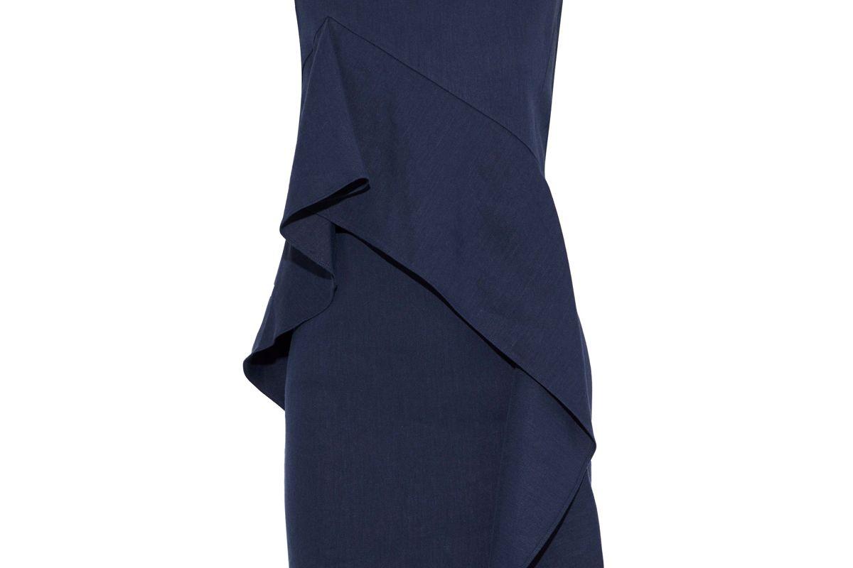 diane von furstenberg draped linen blend twill mini dress