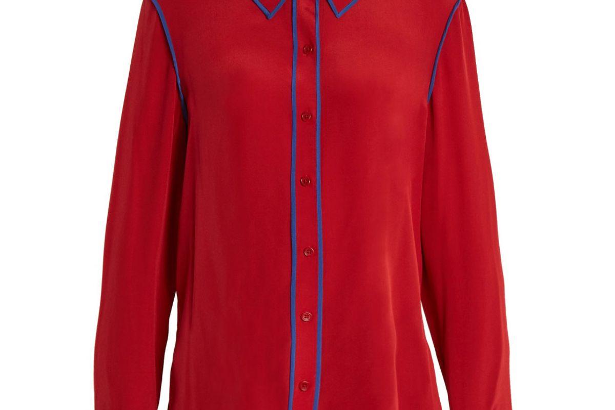 Point-Collar Silk-Crepe Shirt