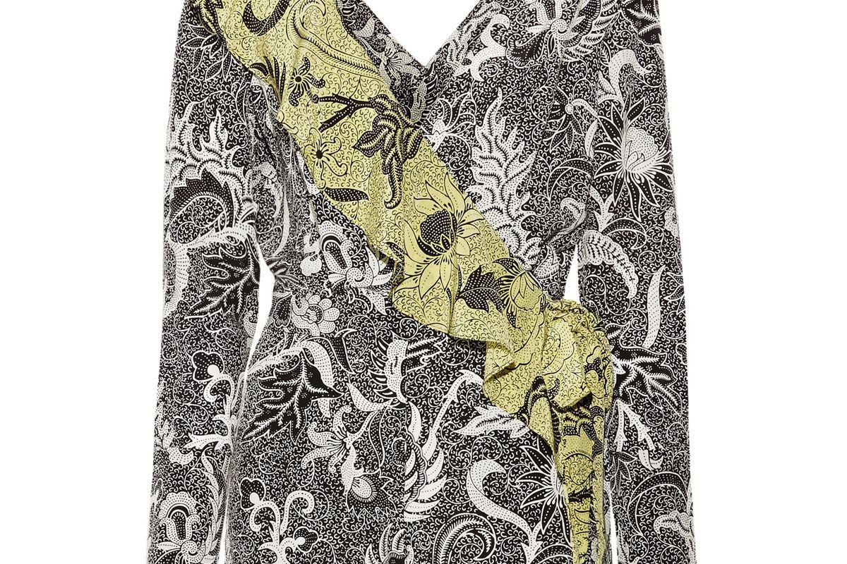 Ruffled Wrap-Effect Printed Silk Crepe de Chine Playsuit