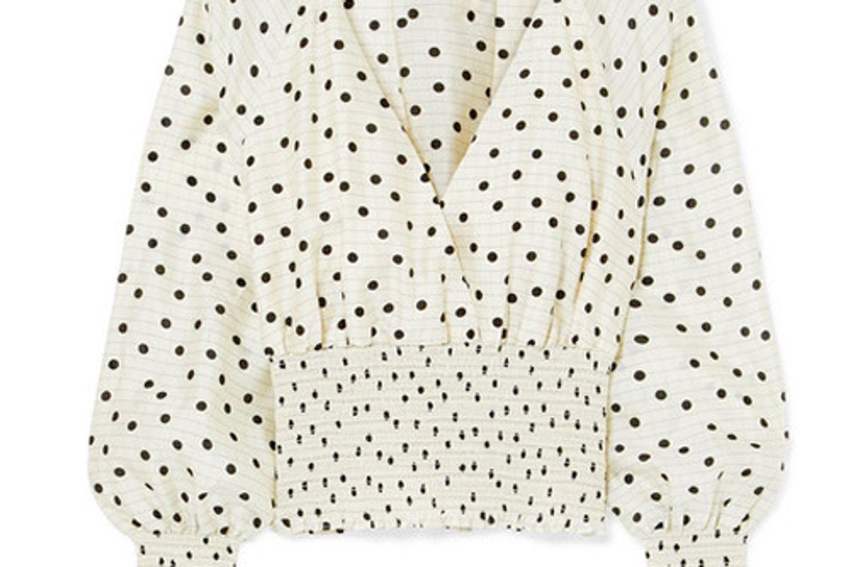 diane von furstenberg shirred polka dot silk top