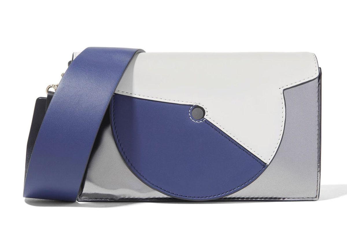 Swirl Soirée Color-Block Leather Shoulder Bag