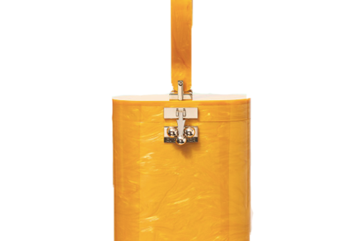 die parker oval bag with top handle in mustard