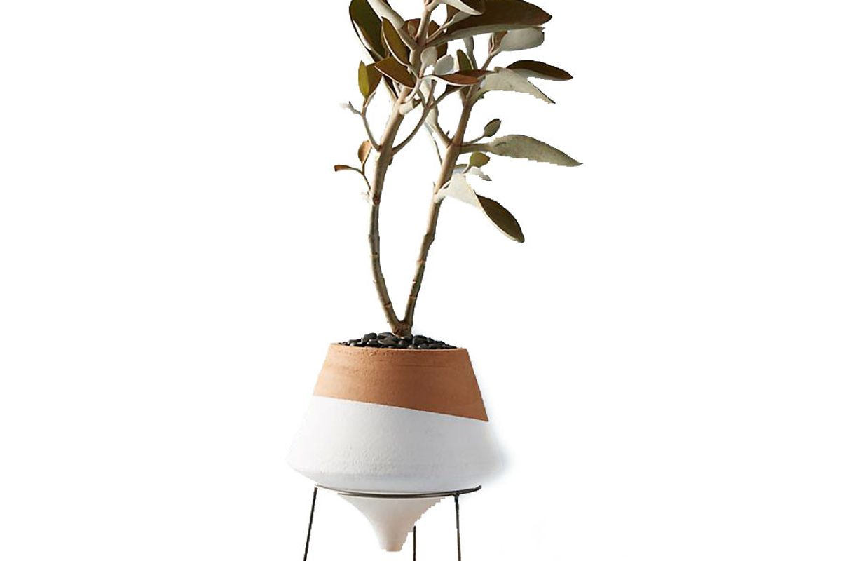 anthropologie dipped clay pot and stand