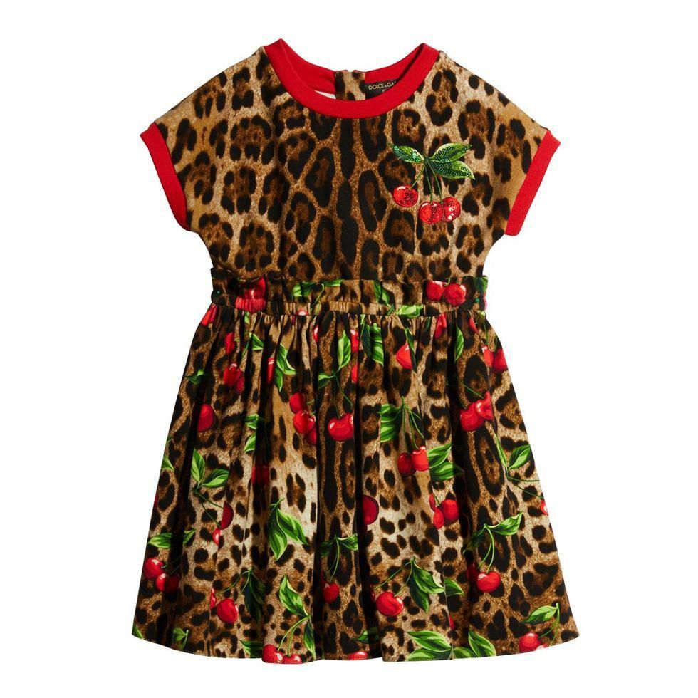 dolce and gabbana girls leopard and cherry print dress