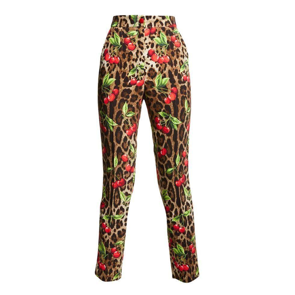 dolce and gabbana leopard cherry print cady straight leg pants