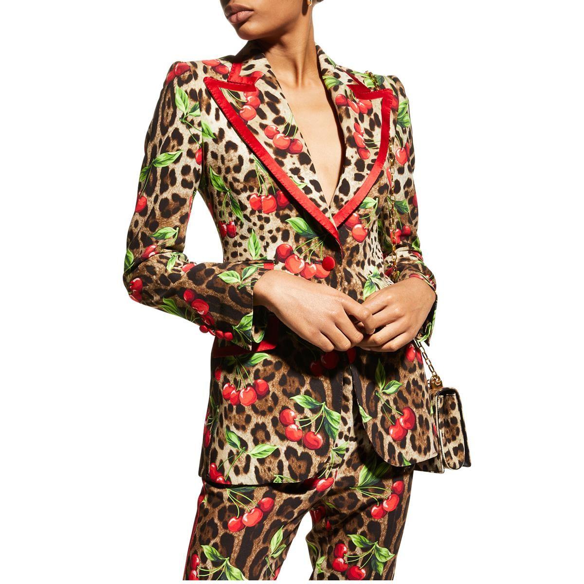 dolce and gabbana turlington leopard and cherry print cady jacket