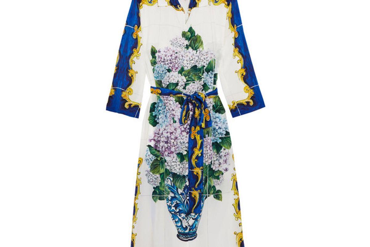 Printed Silk Crepe de Chine Shirt Dress