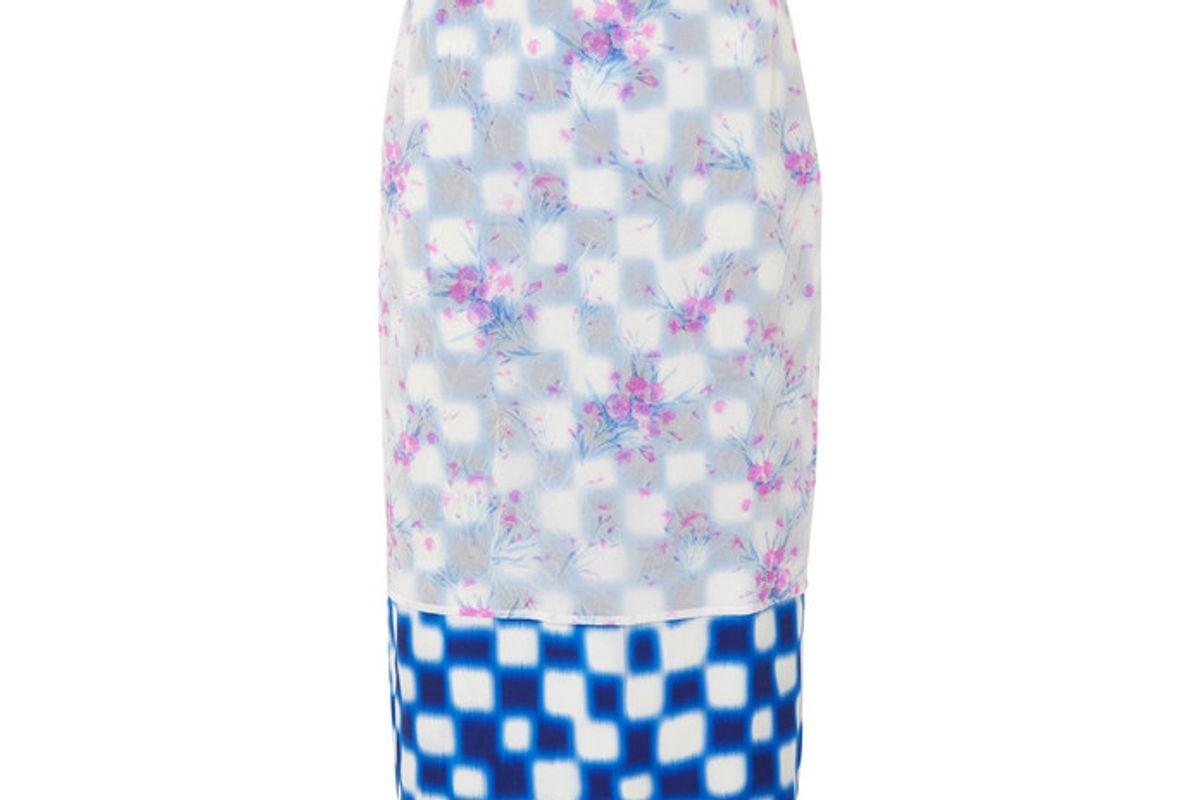 dries van noten layered floral print crinkled organza and checked satin midi skirt