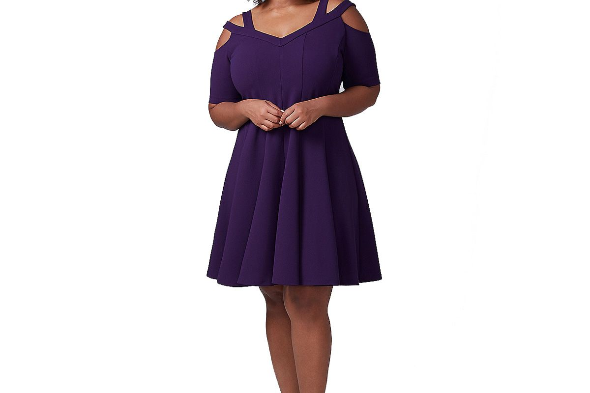 Strappy Shoulder Fit & Flare Dress