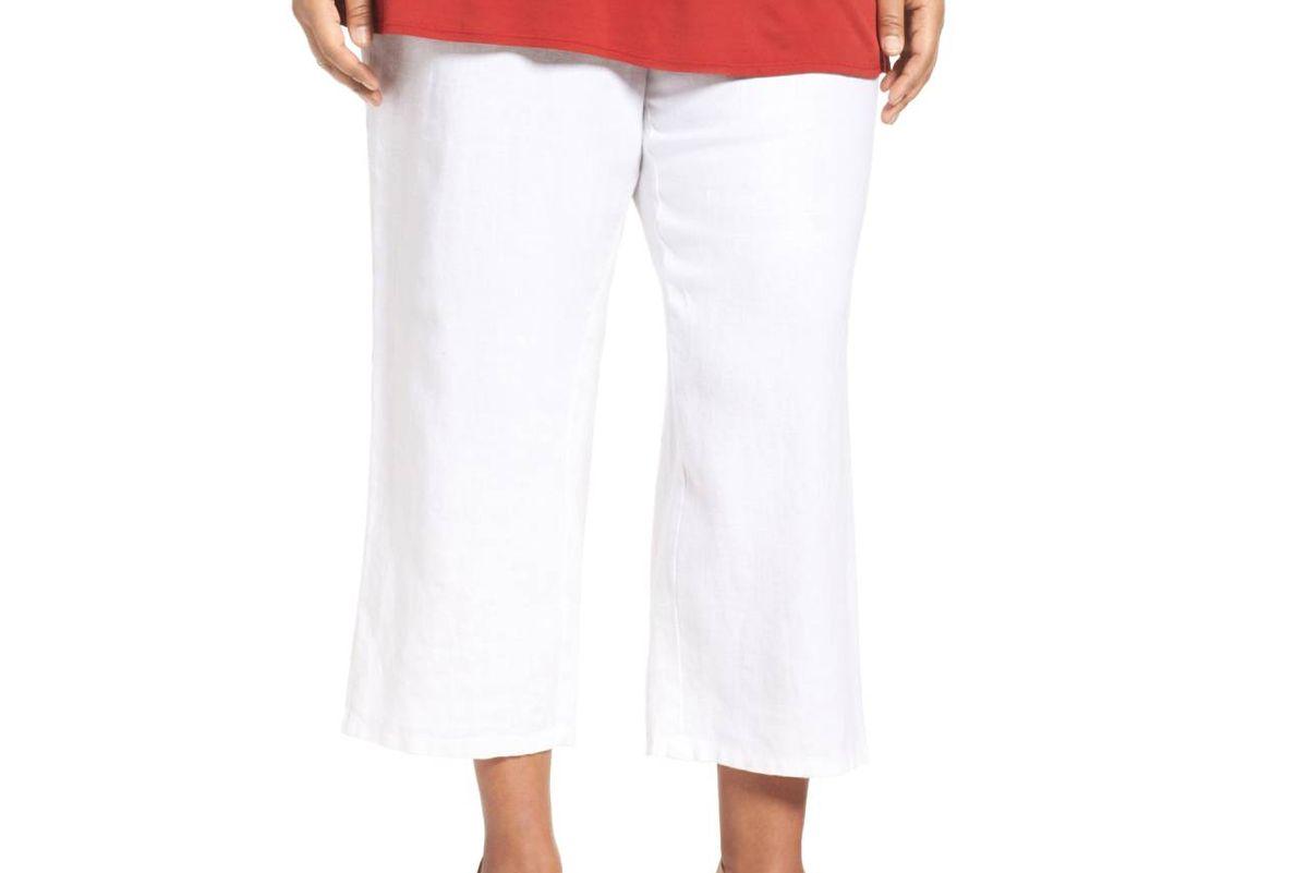 Organic Linen Wide Leg Crop Pants