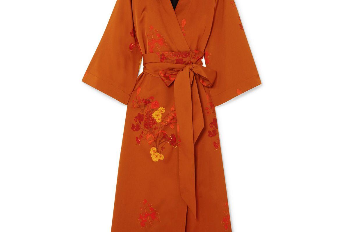 ellery bishop floral print silk satin wrap dress