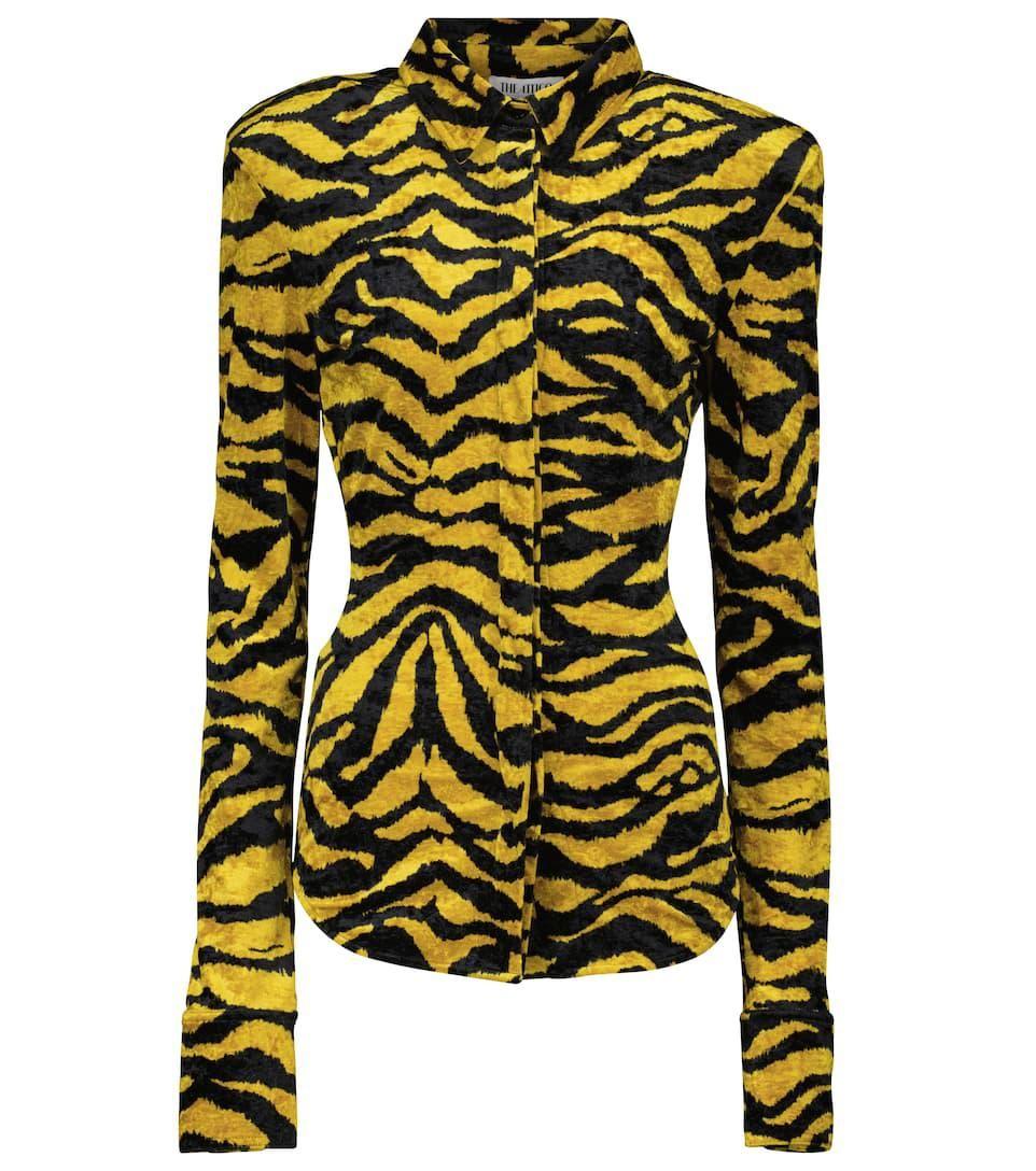 elton zebra print velvet shirt
