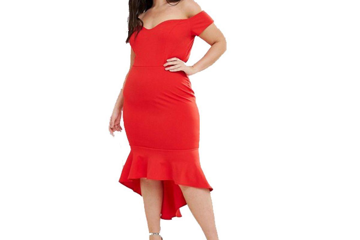 Off Shoulder Ruffle Midi Dress