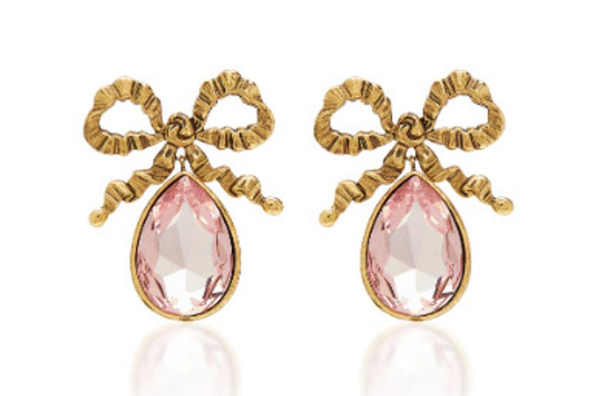 ennifer behr r19 gold bow with gemstone drop earring