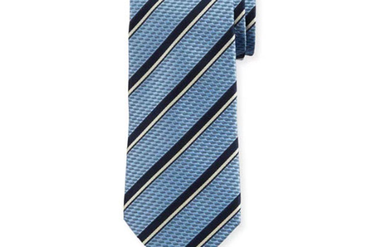 ermenegildo zegna two tone stripe silk tie