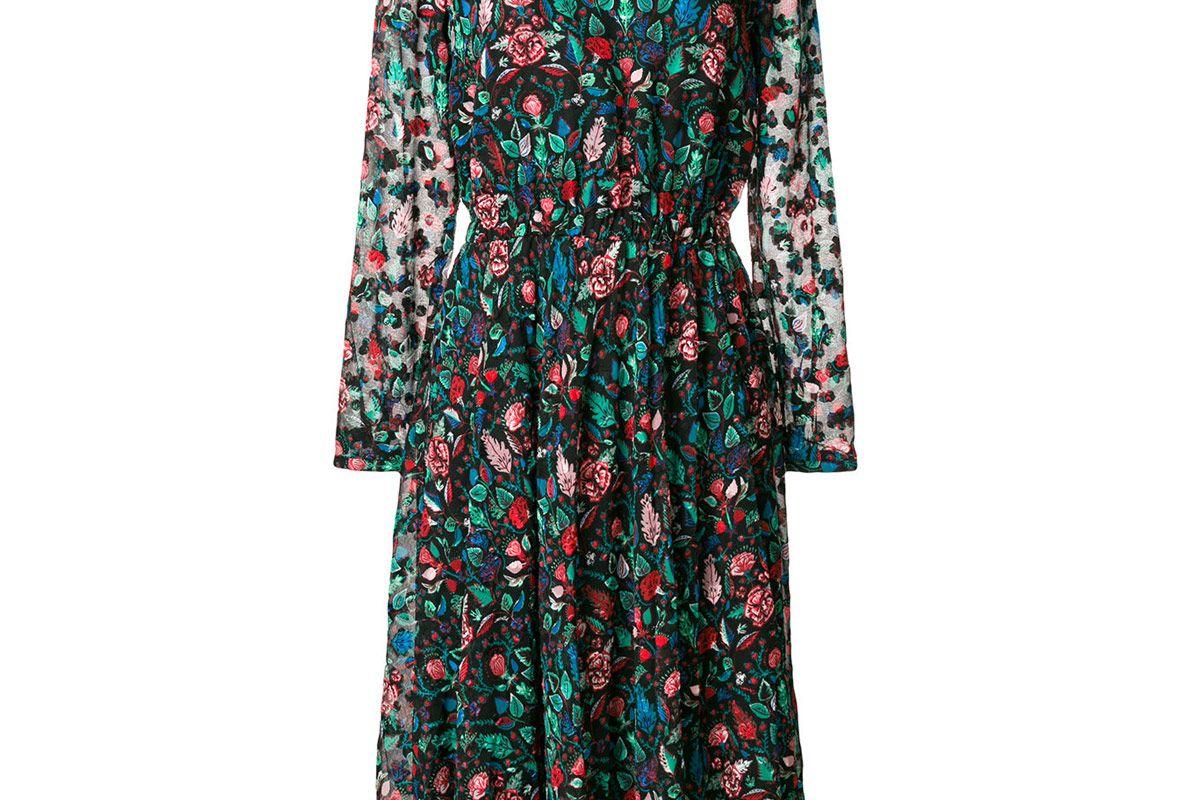 Sheer Sleeve Floral Dress