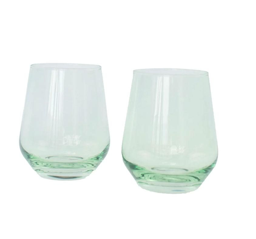 Estelle Colored glass set of 2 stemless wineglasses